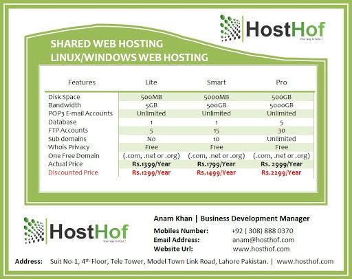 Shared Web Hosting In Lahore Pakistan